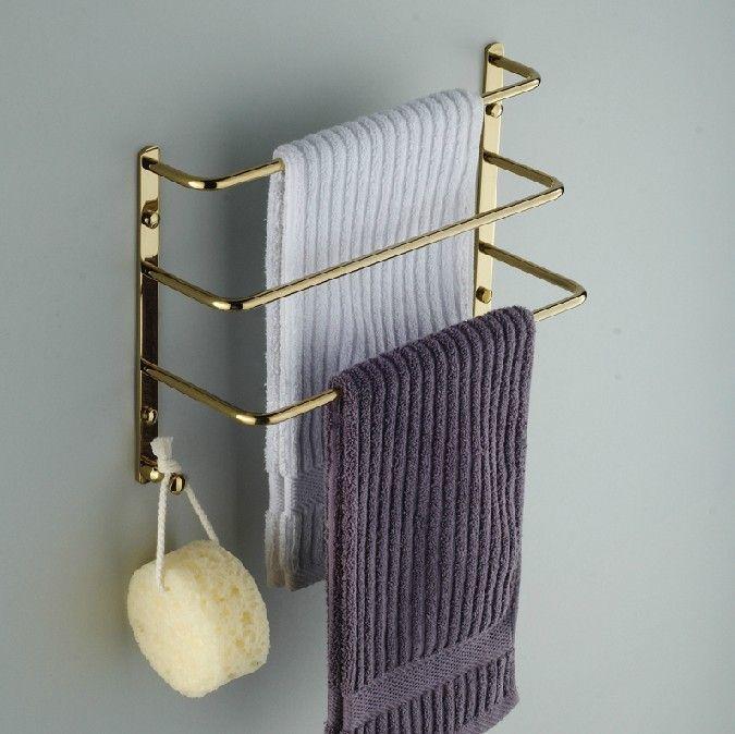 Gold Finish Bathroom Towel Rack Stepped Soild Brass Tower Bar rack