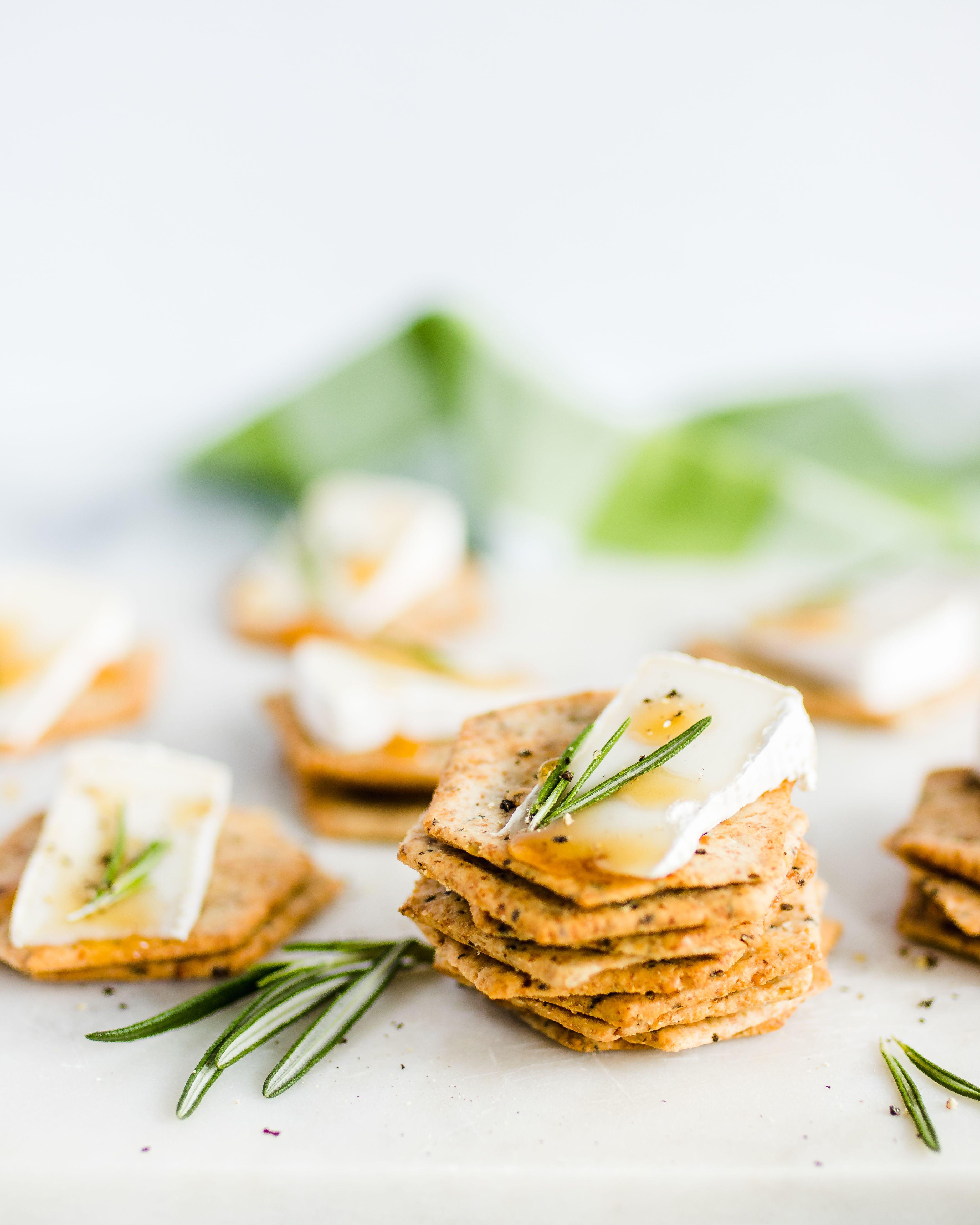 brie honey and rosemary cracker bites  recipes