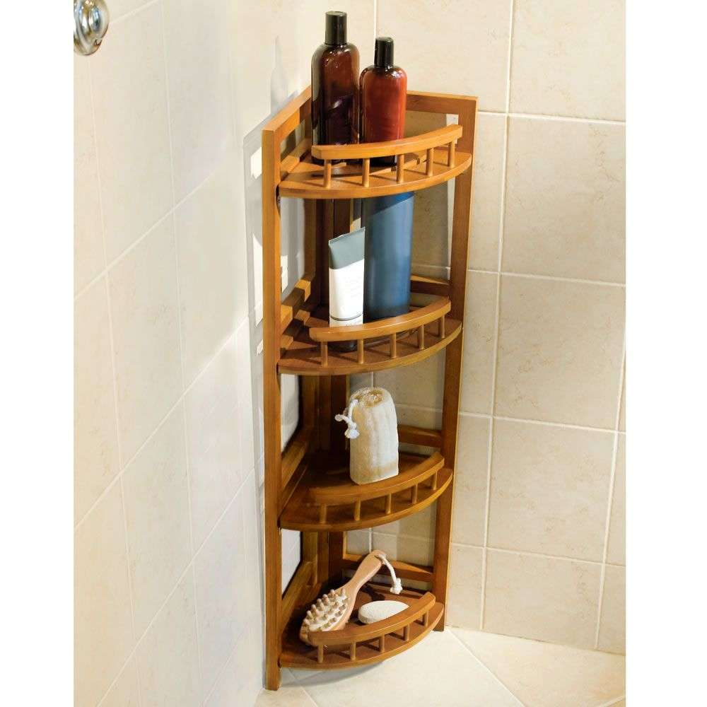 The Bamboo Shower Organizer Hammacher Schlemmer Bathroom A In