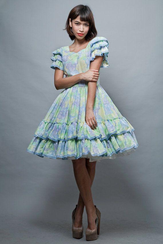 Harajuku Lolita Square Dance Dress Vintage 70S Pastel Full -8948