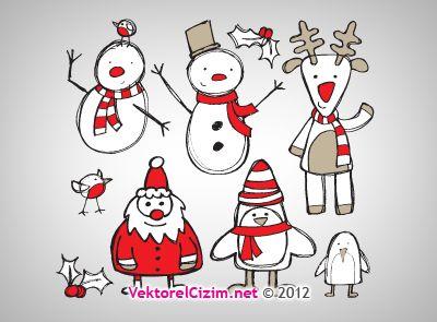 Vektorel Cizim Kardan Adam Noel Baba Noel Baba Noel