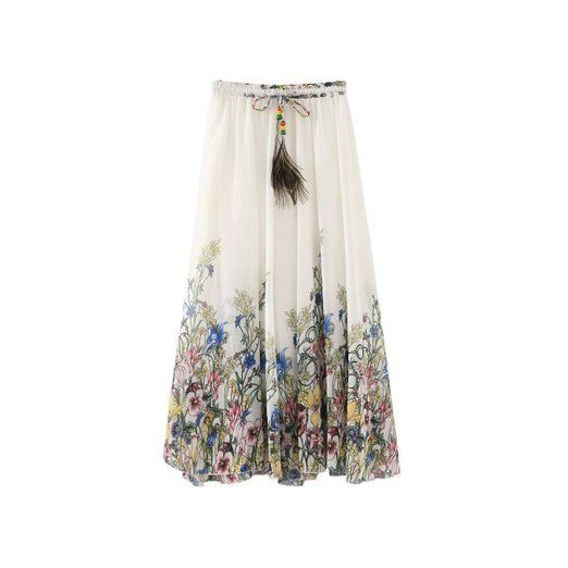 Kaxuyiiy donne Boemia fiore spiaggia elastico in vita maxi gonna a pieghe lunga (Bianco)