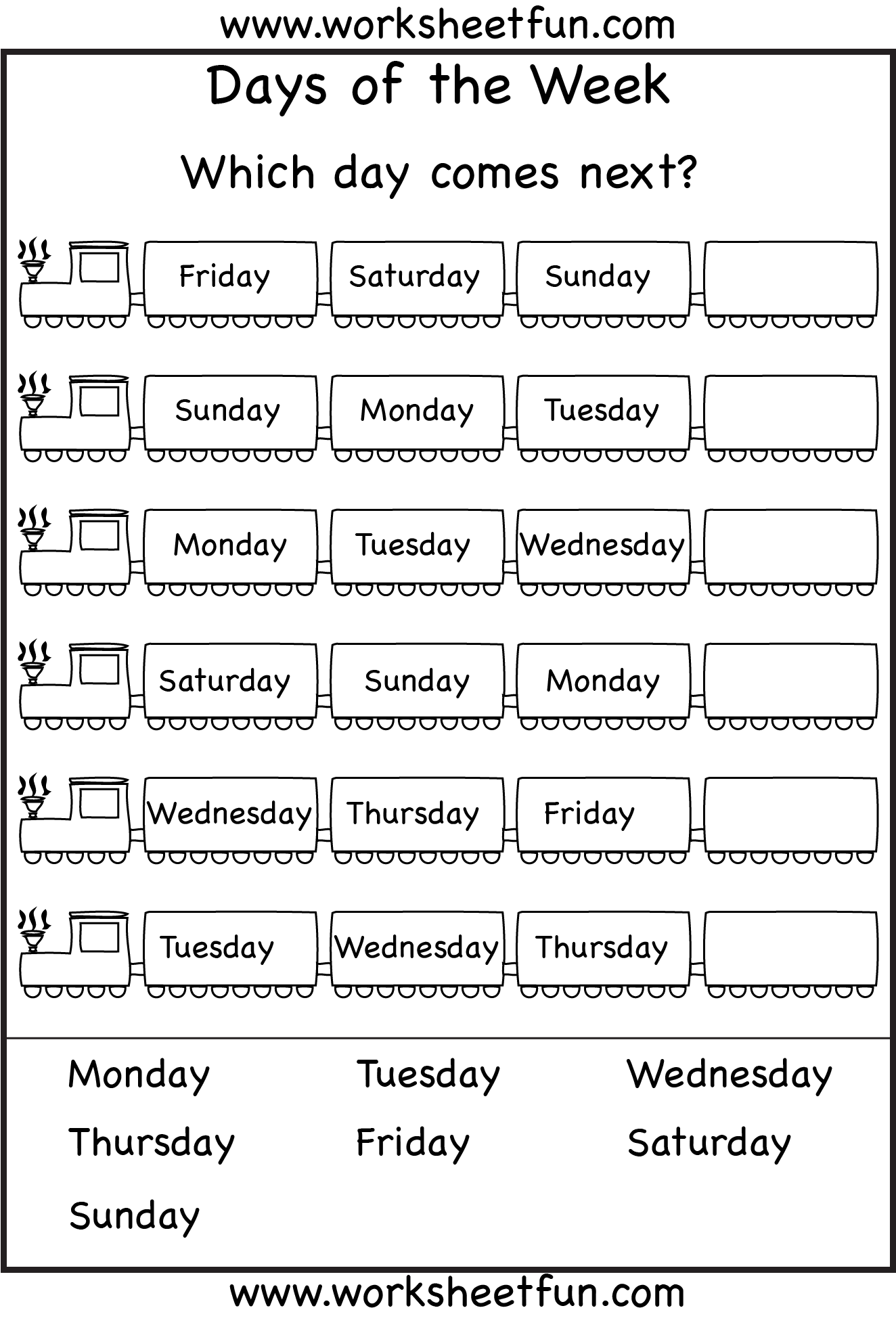 Days Of The Week Worksheets 1a Eval With Images