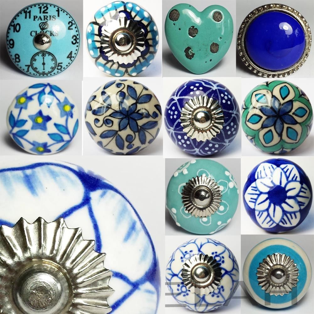 Blue Ceramic Door Knobs MIX & MATCH Vintage Shabby Chic Handles ...