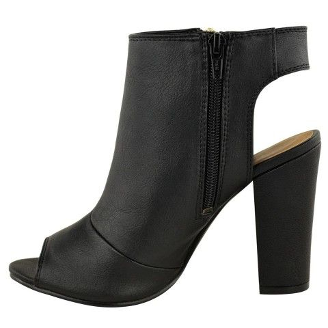 Women's Peep Toe Cutout Chunky Block Heel Ankle Booties