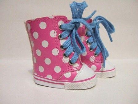 Polkadot Gympen roze/wit/blauw | *SCHOENTJES* voor poppenmaat ca. 43cm (o.a. BabyBorn) | Astrids Atelier Poppenkleding