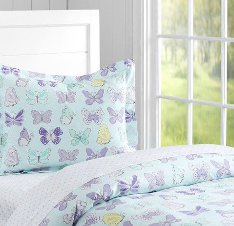 Pottery Barn Kids, Butterfly twin duvet cover, organic