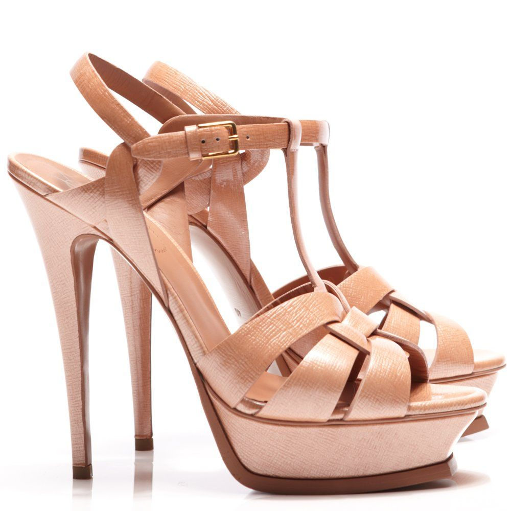 Saint laurent Ysl Tribute Patent Leather Platform Sandals