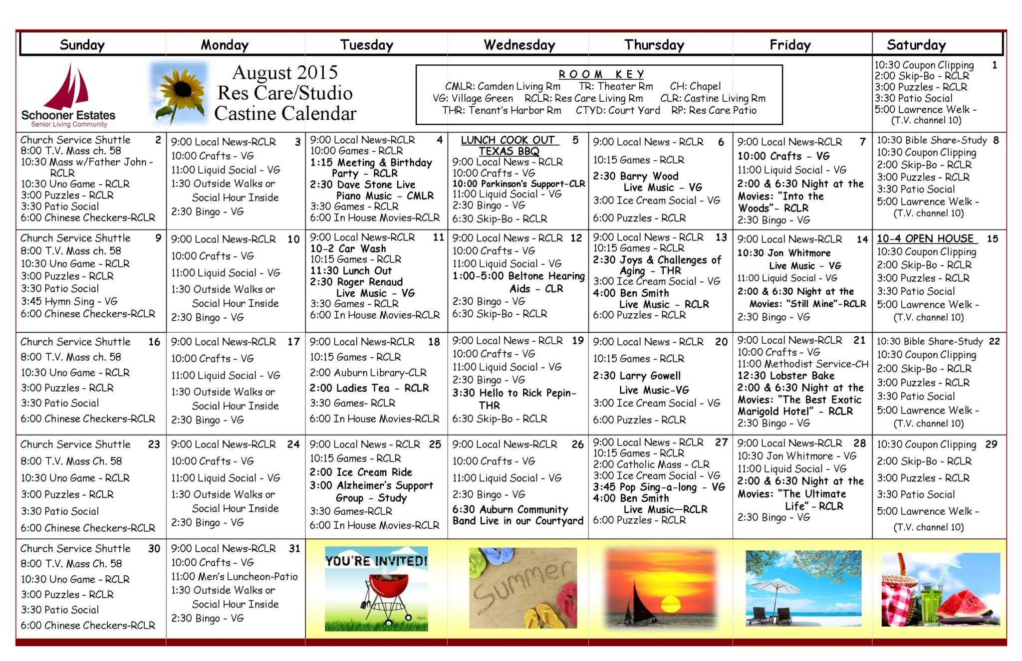 Assisted Living Activity Calendars