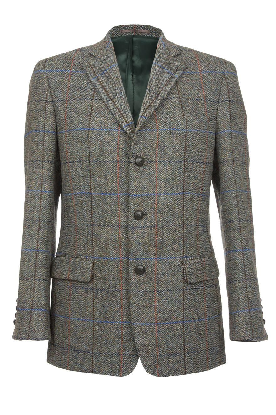 Langdon Harris Tweed Jacket in green herringbone.