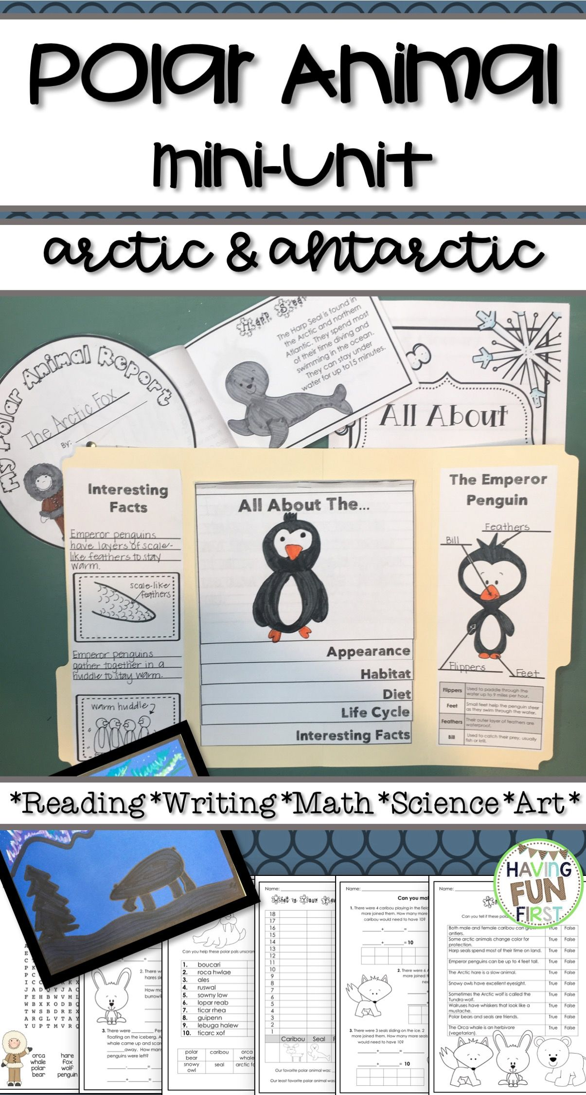 This Polar Animal Arctic And Antarctic Non Fiction Unit Includes Many Activities For Writing Reading Math Polar Animals Animal Activities Animal Nonfiction [ 2249 x 1205 Pixel ]