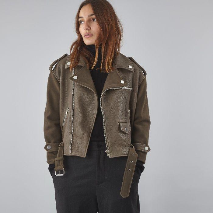 a4cd8afcd Twins Florence Short Biker Jacket - Military Green | Fashion ...