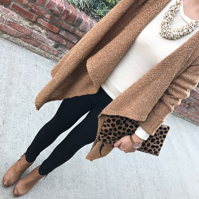 Camel cardigan, Leopard clutch, cluster pearl necklace, brown ...