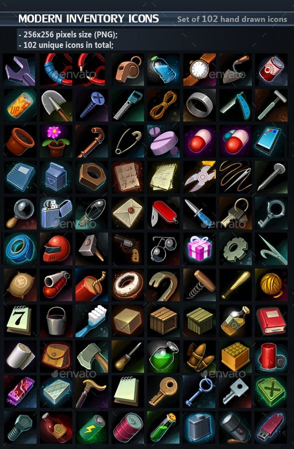 Modern Tools Icons — PSD collection inventory
