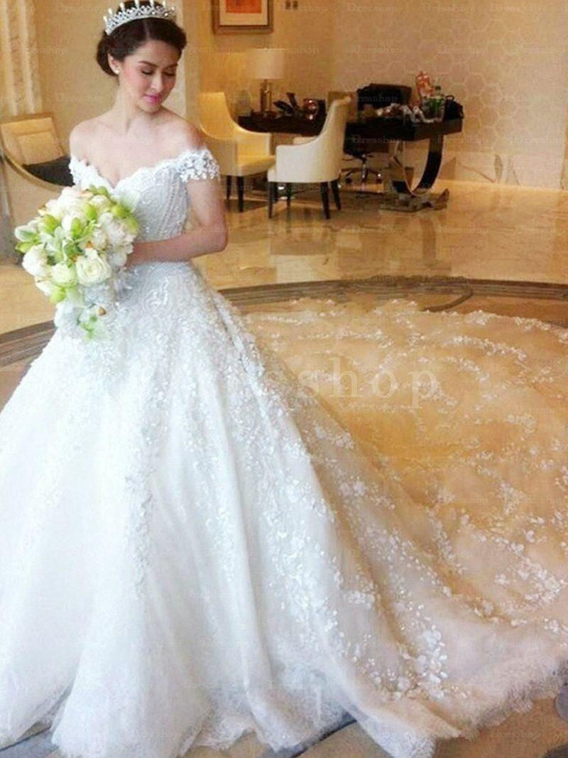 Eatravagant Short Sleeves Ball Gown Chapel Train Natural Wedding