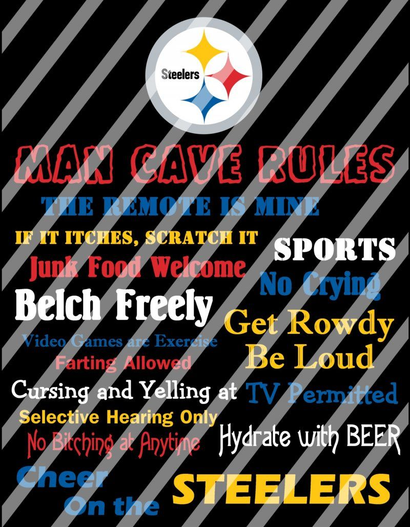 Pittsburgh Steelers Man Cave Rules Wall Decor Sign (instant download or shipped)
