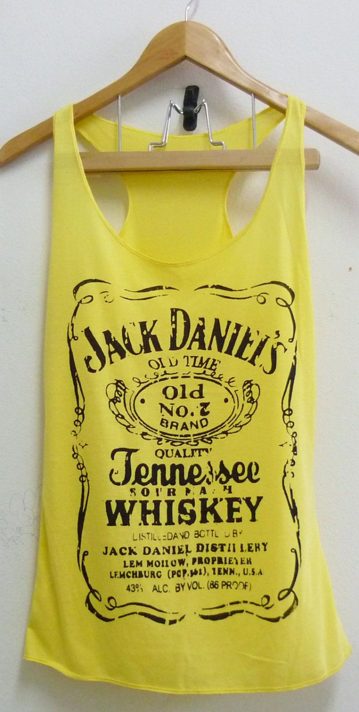 Yellow Jack Daniels whiskey sign Tank top size S/M polyester cotton blend singlet top for women. $12.50, via Etsy.