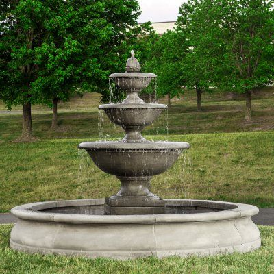 Campania International Monteros 3 Tier Outdoor Fountain With Basin Ft 270 Al