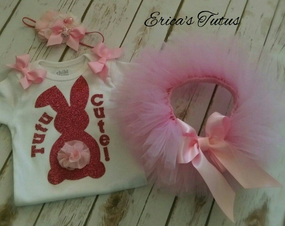 """Easter Inspired Tutu Set. 3-6 months """"Tutu Cute!"""" Bunny Onesie and Pink Tutu with matching Headband.❤"""