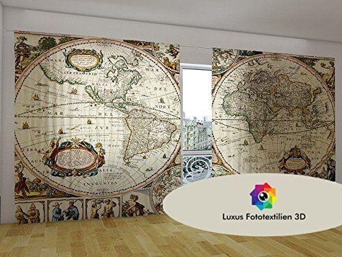 Vorhang Fotodruck schiebegardine fotogardine weltkarte vorhang gardine in luxus