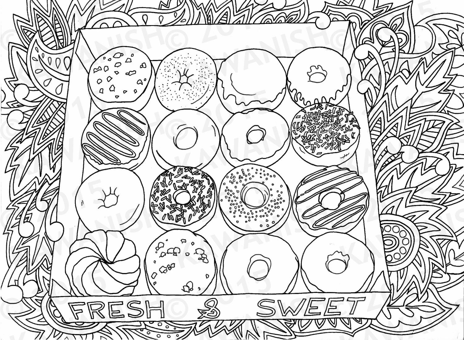 Donuts Doughnuts Adult Coloring Page Gift Wall Art Adult Coloring