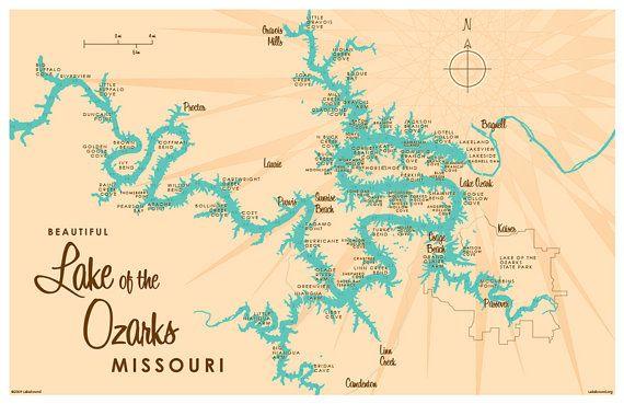 lake ozark missouri map Lake Of The Ozarks Mo Map Print With Mile Markers By Lakeboundshop lake ozark missouri map