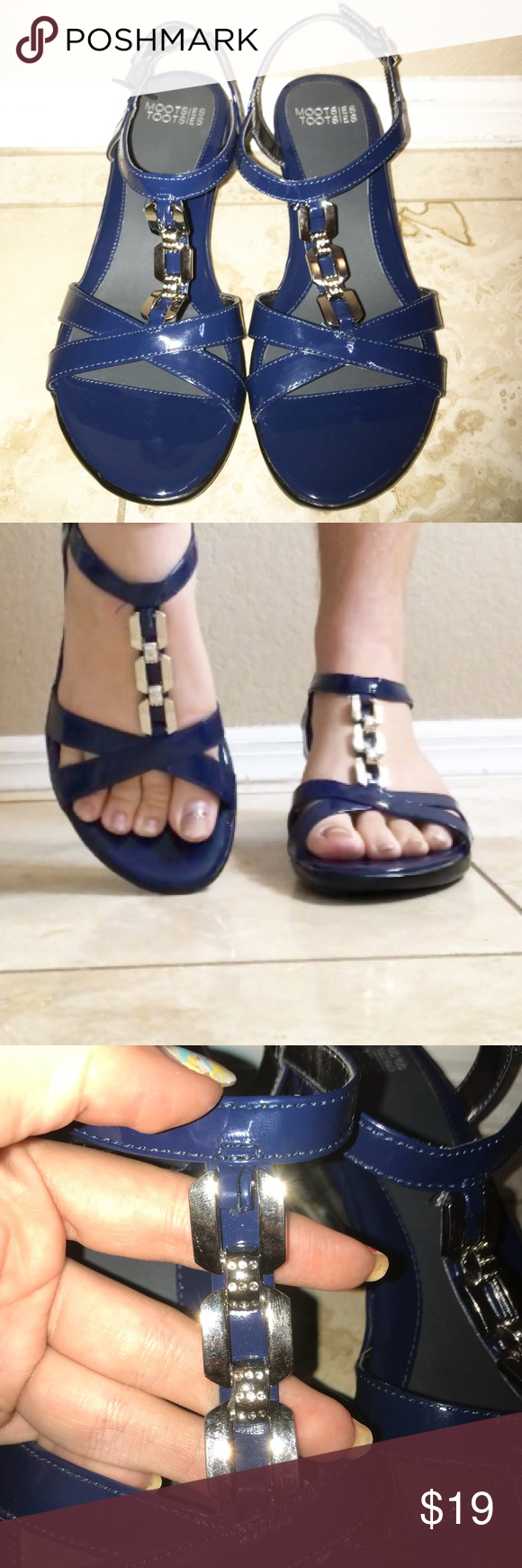Mootsie Tootsie Blue Low Wedge Sandal Size 8 Chain This is a gorgeous and comfortable pair of low wedge heeled sandals by Mootsie Tootsie. They are in excellent condition and are in size 8. Navy blue with a chain strap. Mootsies Tootsies Shoes Sandals #lowwedgesandals