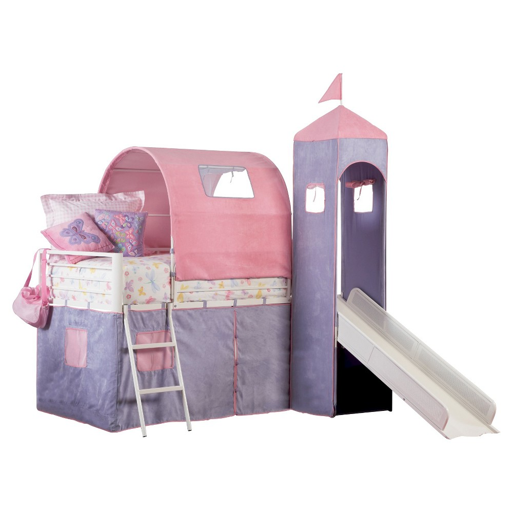Loft bed with slide and tent  Princess Castle Tent Bunk Bed with Slide MultiColored Twin