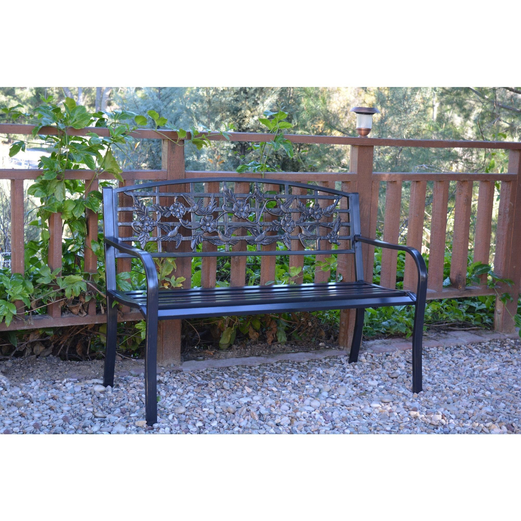 50 Inch Flowers And Bird Curved Back Steel Park Bench Black Jeco