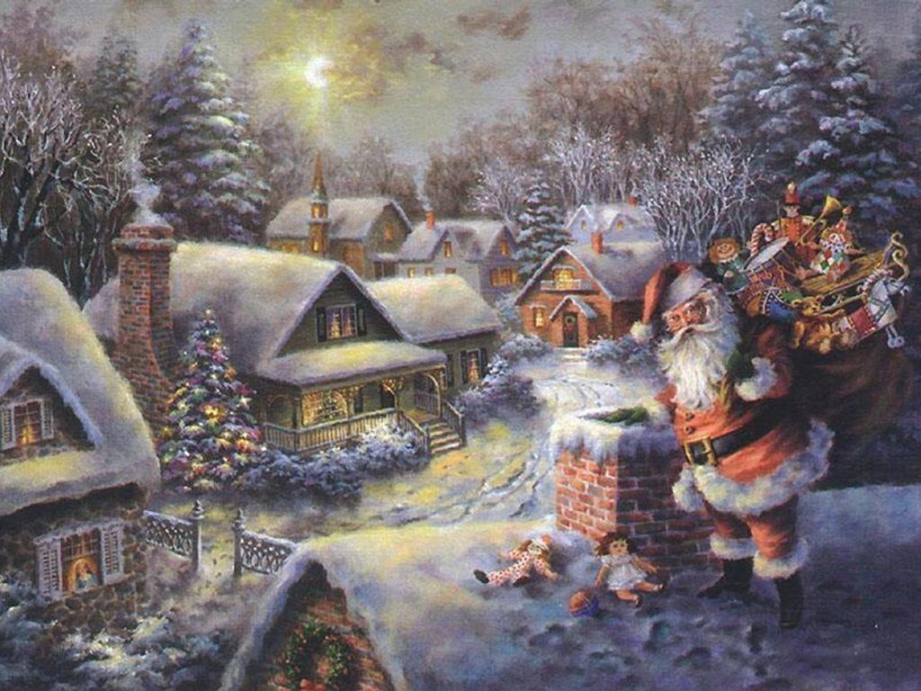 Old-Fashioned Winter Christmas Scenes | Christmas Scene - Santa ...