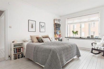scandinavische slaapkamer met industriële kasten - slaapkamer, Deco ideeën