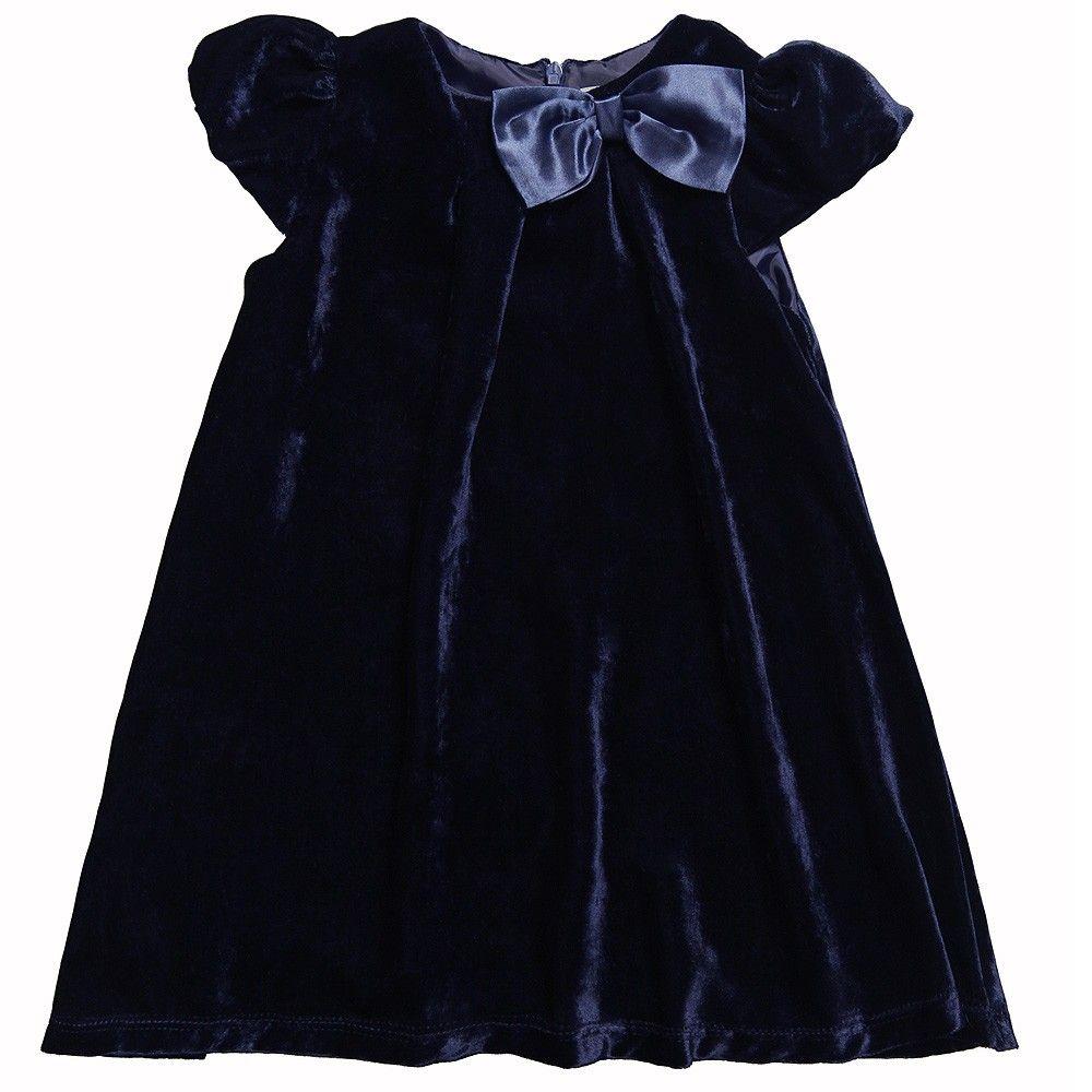 0db965d9d54c Navy Blue Velvet Dress with Bow - Dresses - Girl