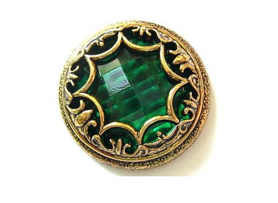 Vintage  plastic cabochon green rhinestone in gold color ornament, 42mm
