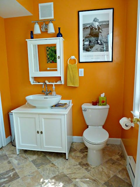 Was Thinking About Doing Some Orange In The Boys Bathroom They Want To Do Denver Broncos Stuff T Half Bathroom Decor Yellow Bathrooms Bathroom Remodel Cost