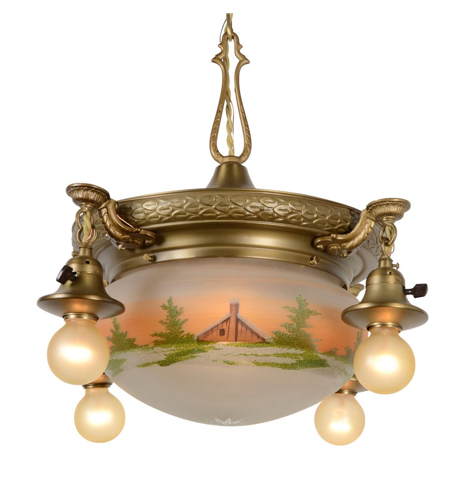 Colonial Shower Chandelier W/ Painted Bowl Shade C1920 / Rejuvenation   /   for front hall?