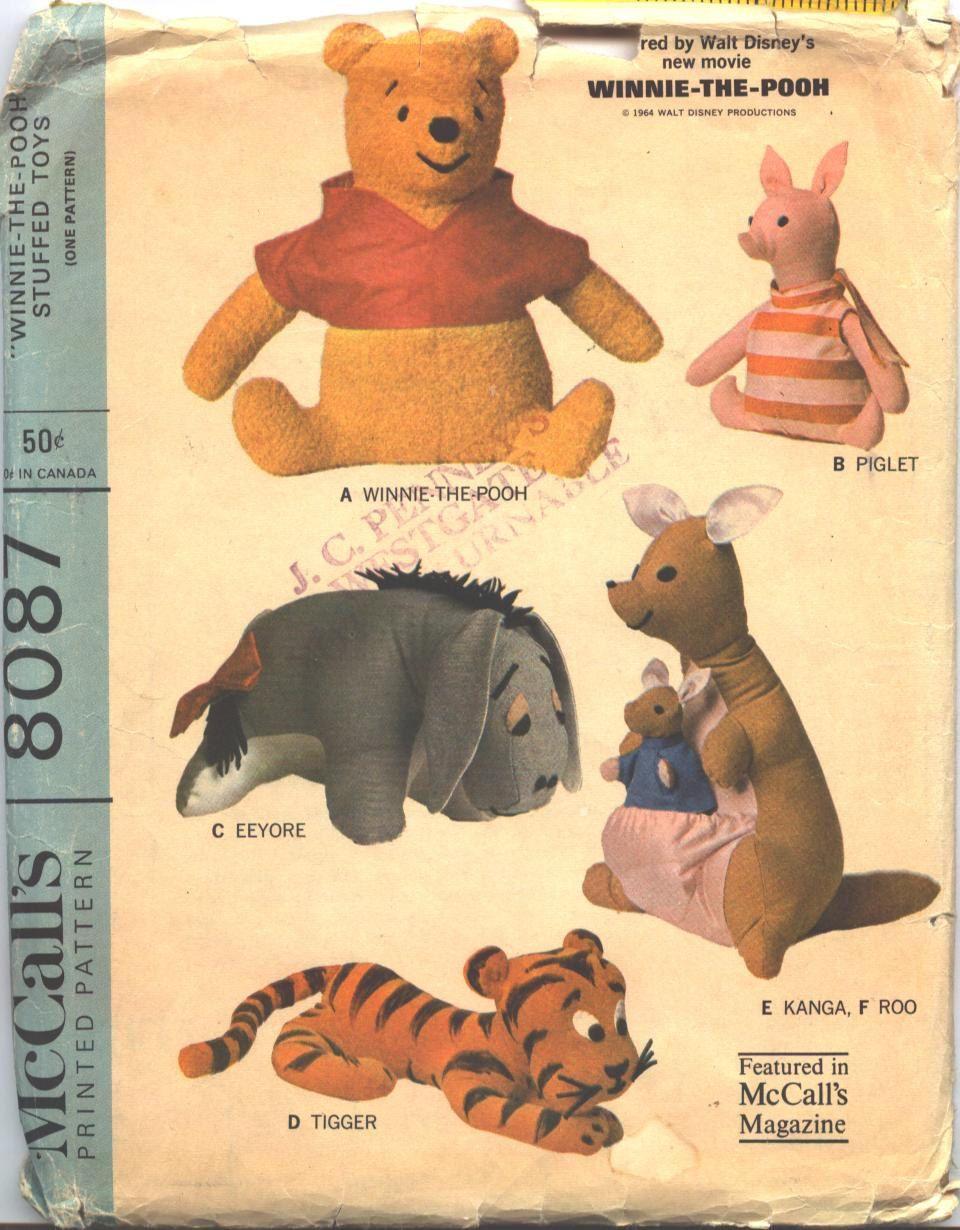McCalls 8087 Winnie the Pooh Vintage Sewing Pattern Eeyore, Kanga ...