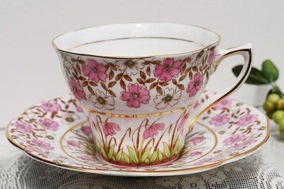 Pink + gold floral teacup - lovely