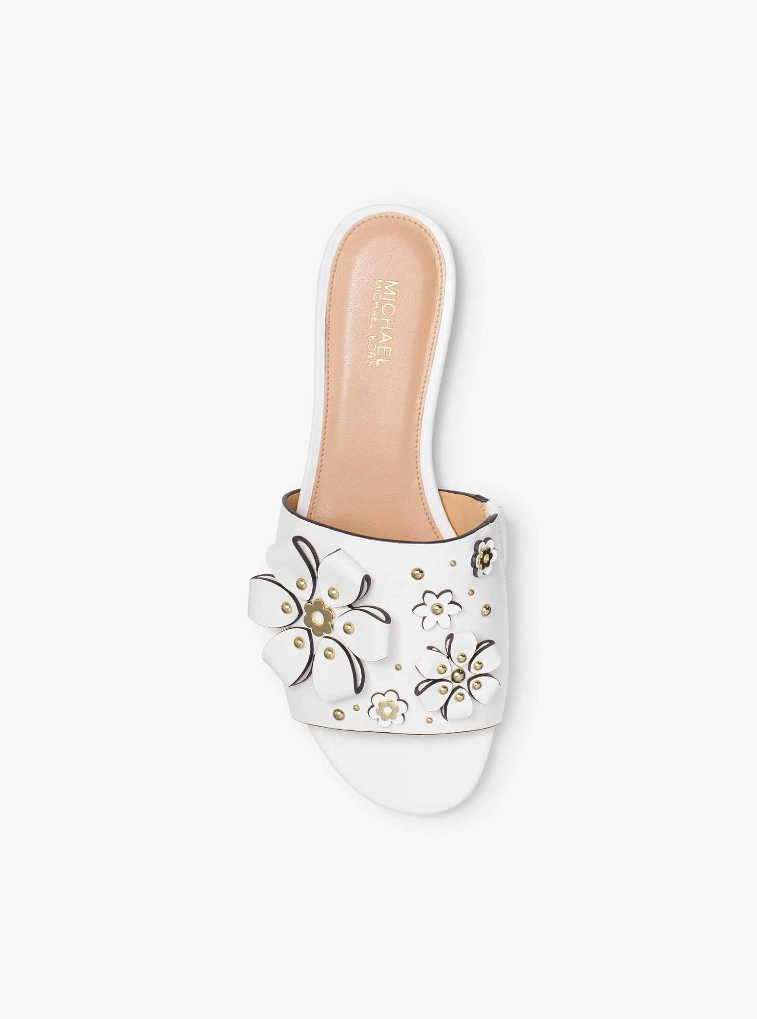 bd4696f98a0 Michael Kors Tara Floral Embellished Leather Slide - Optic White 5.5 ...