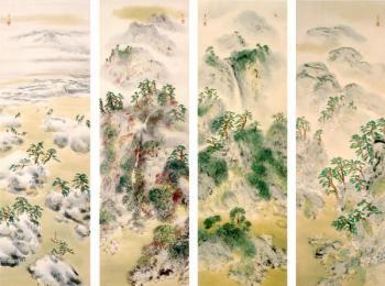 Yuki Somei(結城素明 1875ー1957)「春山晴靄・夏渓欲雨・秋嶺帰雲・冬海雪霽」