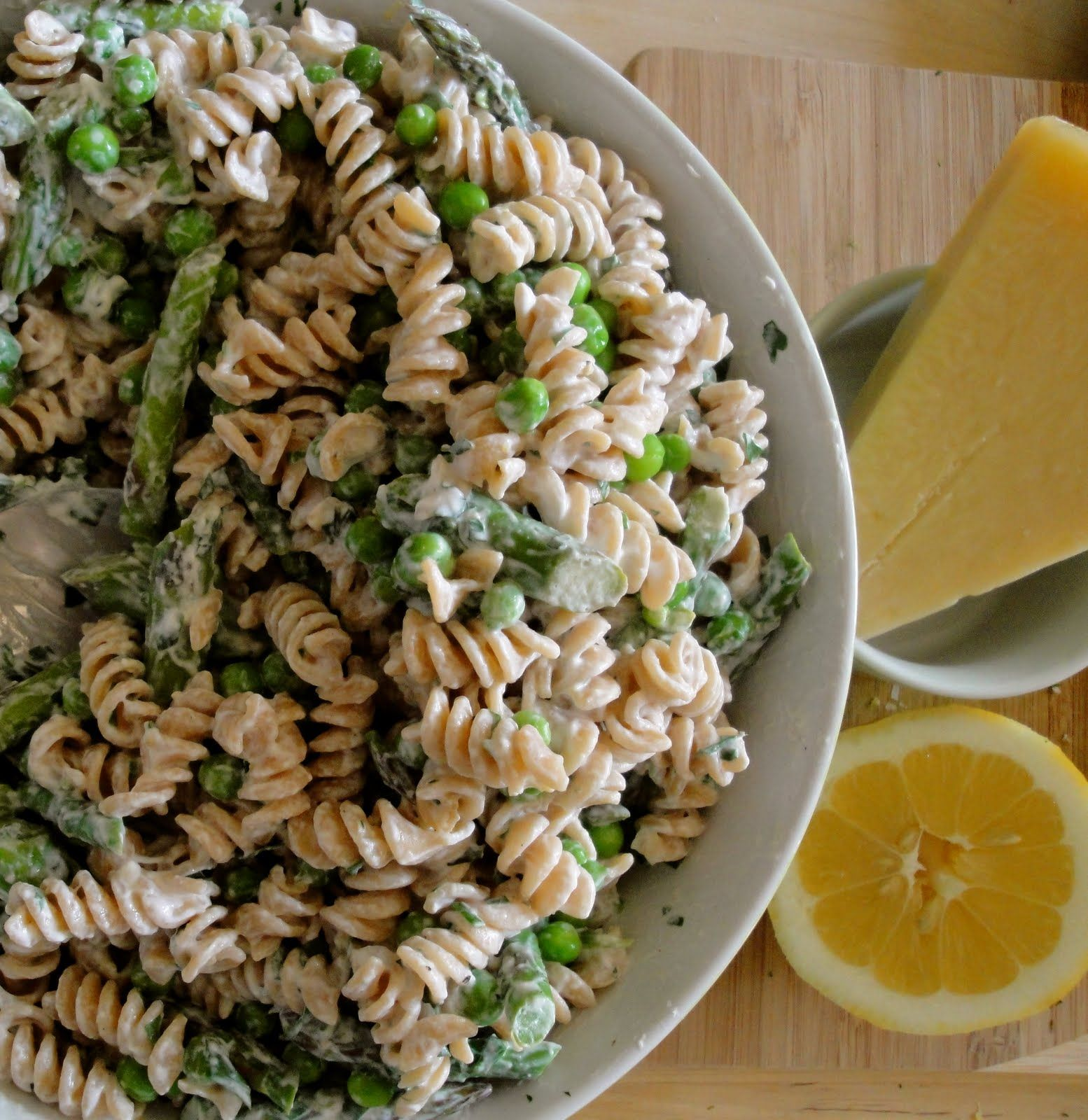 Whole Wheat Pasta with Asparagus, Fresh Herbs, and Citrusy Lemon - aromatic and zesty