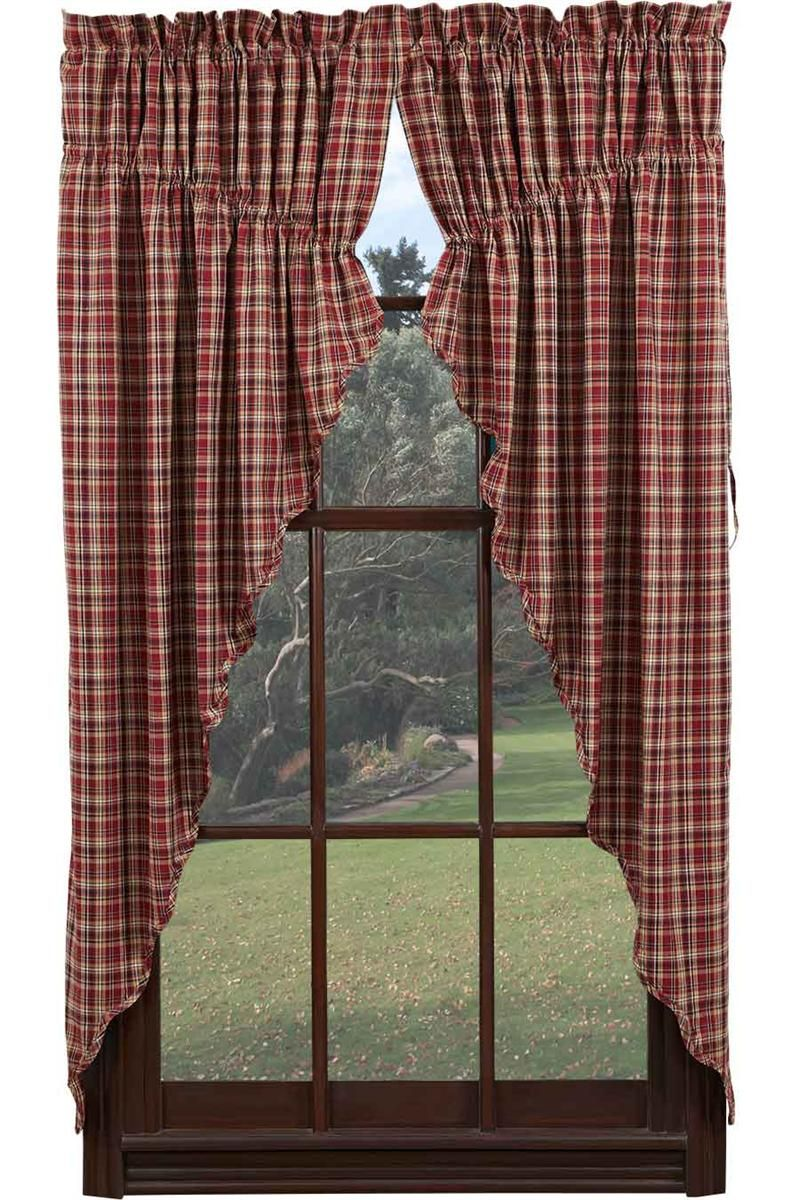 Beau Braddock Plaid Prairie Curtain Swag Window Toppers For Kitchen Curtains
