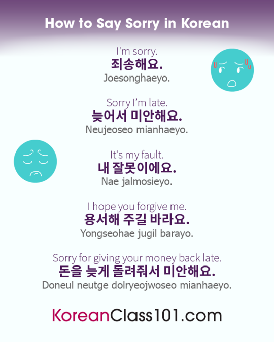 How To Say Sorry In Korean Korean Learnkorean Sorry Korean Words Learning Korean Language Korean Language Learning