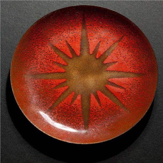 Modernist enamel on copper dish