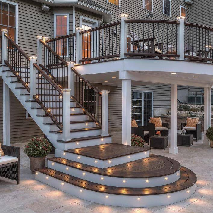 35 Cool Outdoor Deck Designs: Two-Tone Deck Colors With Lightning.