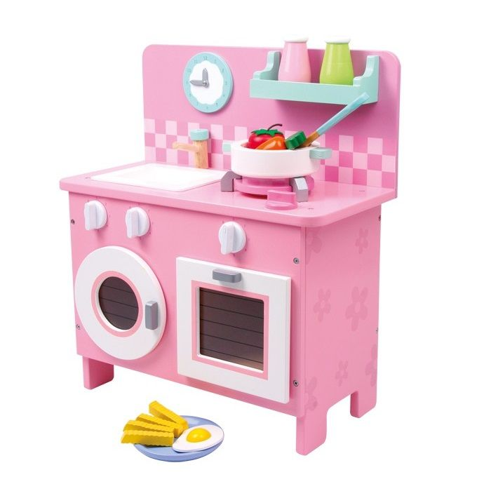 Cocina de madera barnizada en color rosa de juguete para for Cocina juguete imaginarium