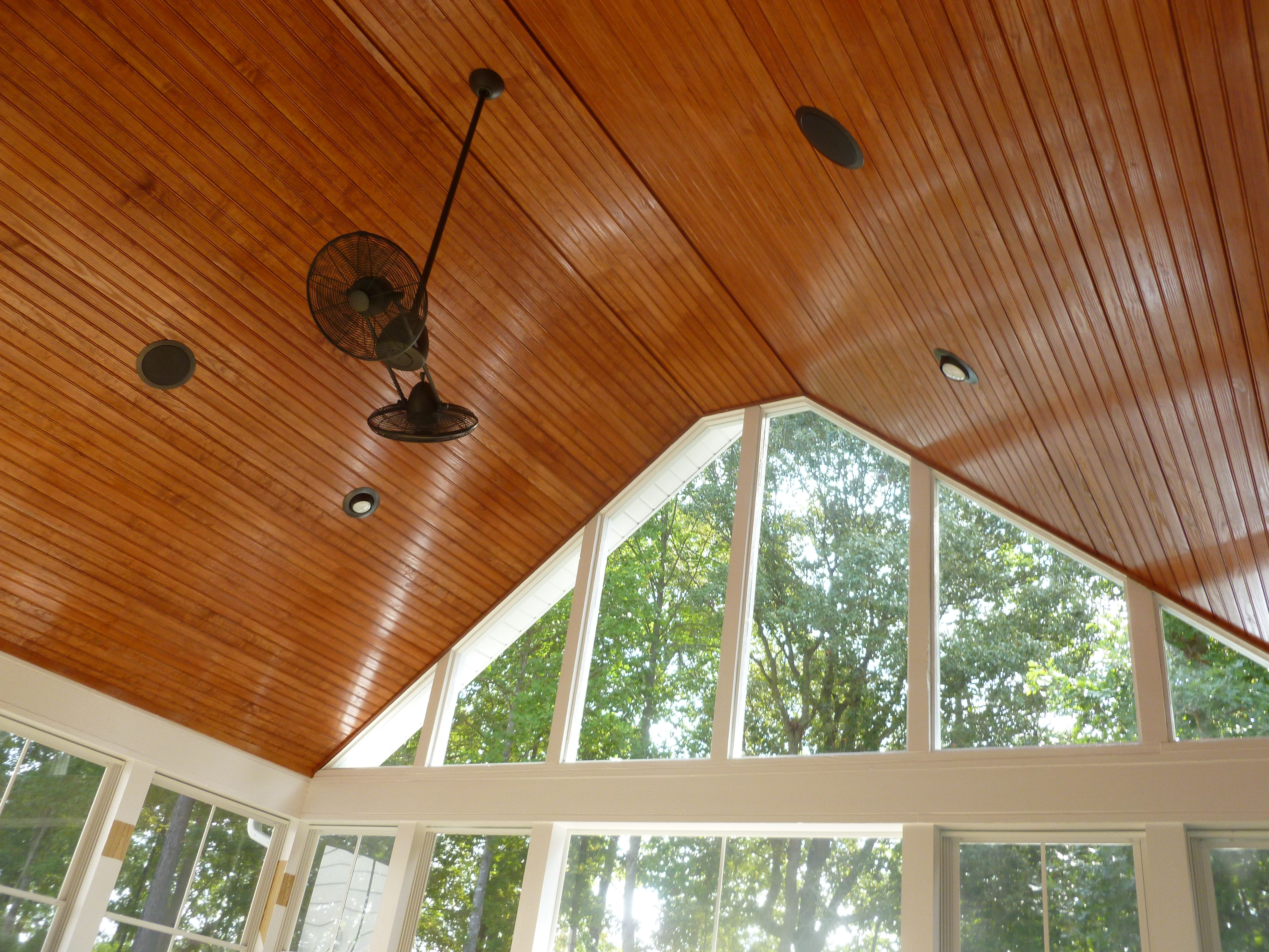 tongue and groove screen porch ceiling by archadeck of charlotte with vaulted gable - Patio Ceiling Ideas
