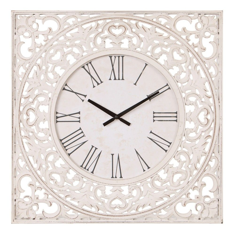 24 Distressed Ornate Wood Carved Wall Clock White Patton Wall Decor White Wall Clocks Wall Clock Carved Wood Wall Decor