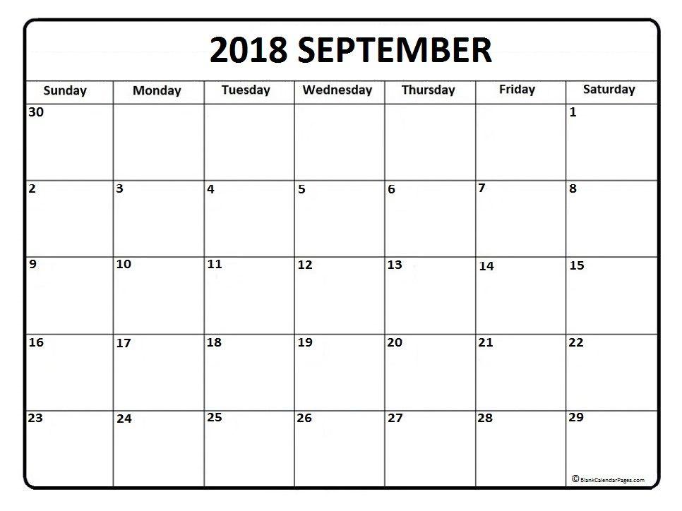 September 2018 Calendar Blank Template Calendar Printables November Calendar March Calendar Printable