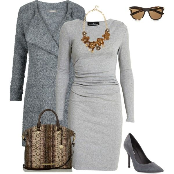 Brown & gray by cs1398 on Polyvore featuring polyvore, fashion, style, Designers Remix, Sandwich, Charles David, Brahmin, J.Crew and Oliver Peoples