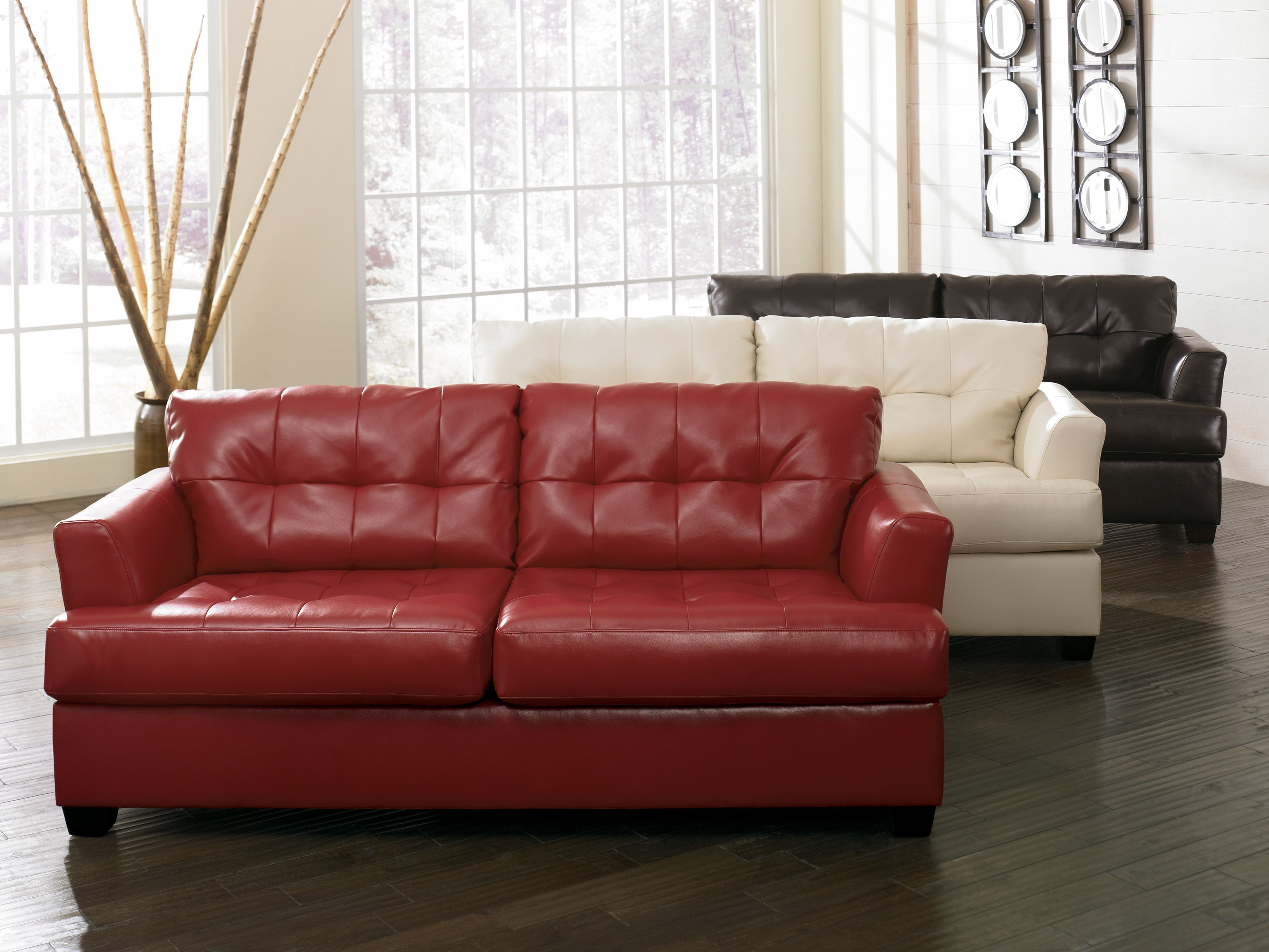 - 946 Red, Ivory And Chocolate Furniture, Red Leather Couches